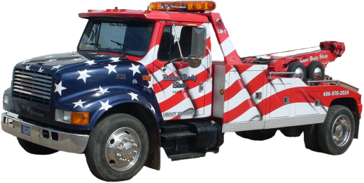 Baker Body Shop American Flag Tow Truck